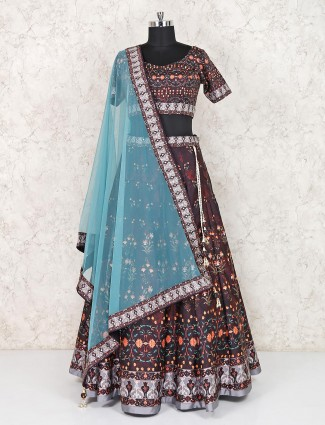 Dark grey cotton silk party wear lehenga choli