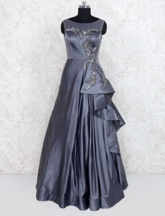Dark grey hued designer wedding gown