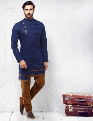 Dark navy hued solid cotton mens kurta suit