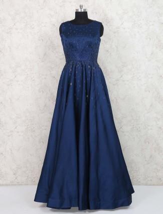 Dark navy silk fabric designer gown
