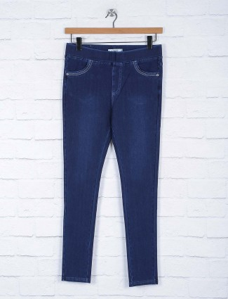 Dark navy solid casual wear jeggings