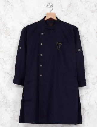 Dark navy solid cotton kurta suit
