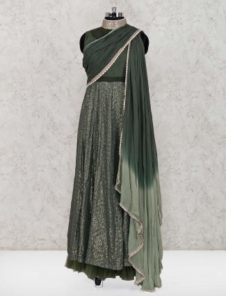 Dark olive georgette party wear salwar suit