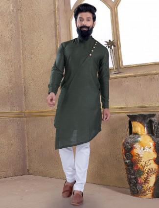 Dark olive green cotton silk kurta suit