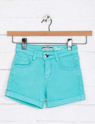 Deal aqua solid denim shorts