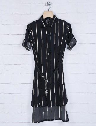 Deal black cotton stripe top