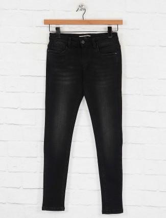 Deal black whiskered effect denim jeans
