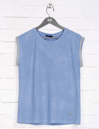 Deal blue solid cotton top