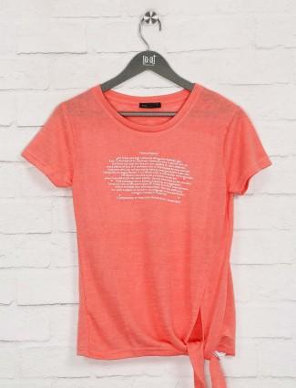 Deal bright peach printed top