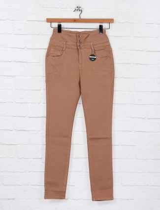 Deal casual wear beige hue high waist jeans