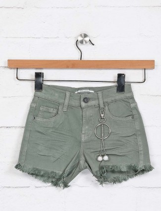 Deal denim casual solid olive shorts