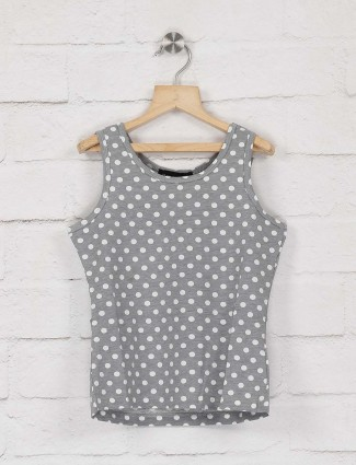 Deal grey color polka dot cotton top