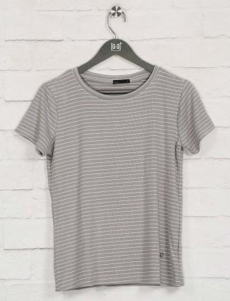 Deal grey cotton stripe design top