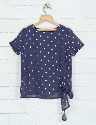 Deal navy foil printed georgette top