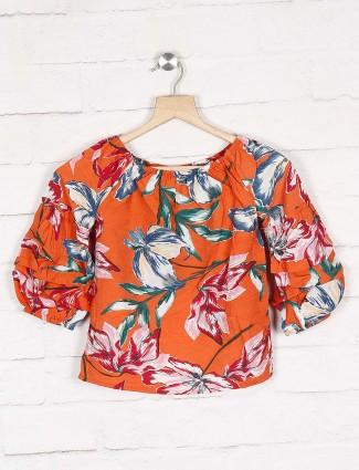 Deal orange color floral print casual top