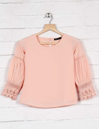 Deal peach hue casual cotton top