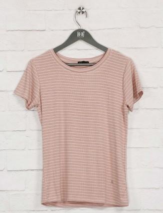 Deal peach stripe cotton casual top