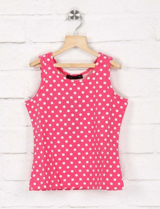 Deal pink color polka dot pretty cotton top