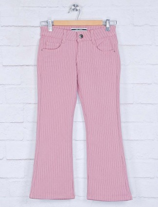 Deal pink cotton solid stripe bell bottom jeans