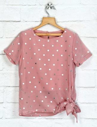 Deal pink georgette foil printed top