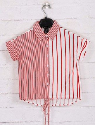 Deal presented red and white stripe cotton top