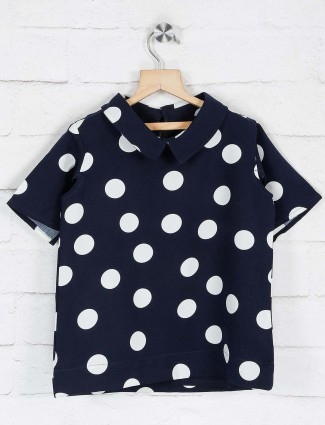 Deal printed navy cotton collar neck top
