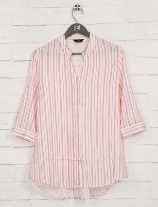 Deal red stripe cotton collar top