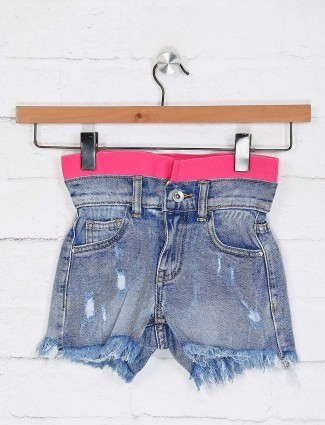 Deal ripped blue colour shorts