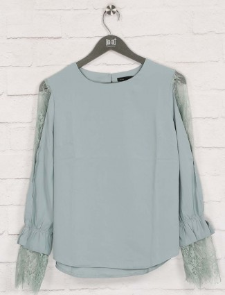 Deal solid blue casual wear top