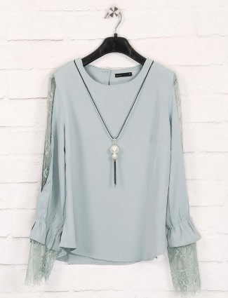 Deal solid green cotton top