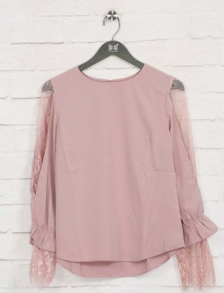 Deal solid pink cotton casual top