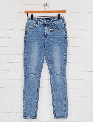 Deal solid soft denim blue latest jeans