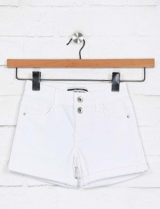Deal solid white cute girls shorts