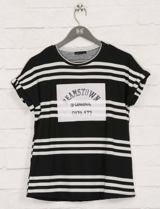 Deal stripe black casual wear top