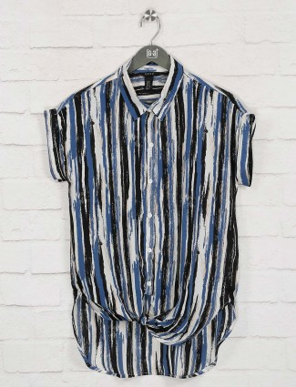 Deal stripe blue cotton casual wear top