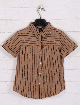 Deal stripe cotton top in brown