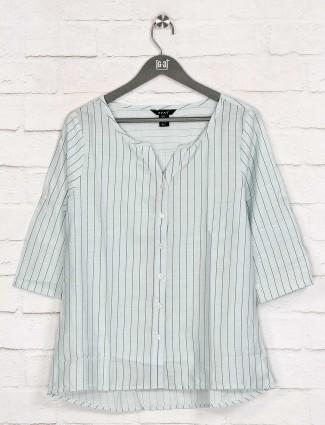 Deal stripe pista green cotton top