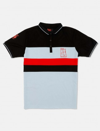 Deepee black and sky blue solid t-shirt