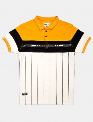 Deepee casual stripe white and yellow t-shirt