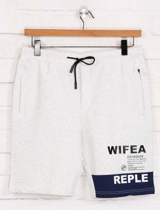 Deepee cotton off white solid casual shorts