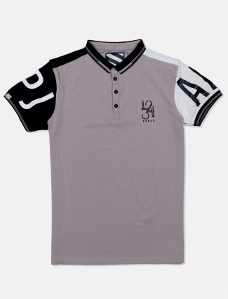 Deepee grey solid slim fit t-shirt
