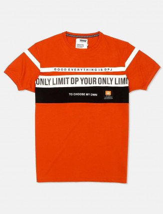 Deepee orange printed round neck t-shirt