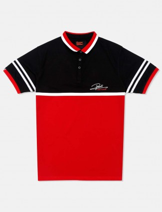 Deepee polo neck red and black solid t-shirt