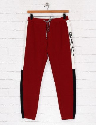 Deepee presented maroon solid track pant