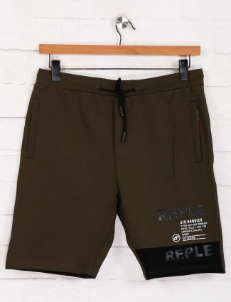 Deepee presented olive solid cotton shorts
