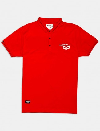 Deepee presented red solid t-shirt