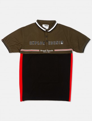 Deepee printed olive cotton t-shirt