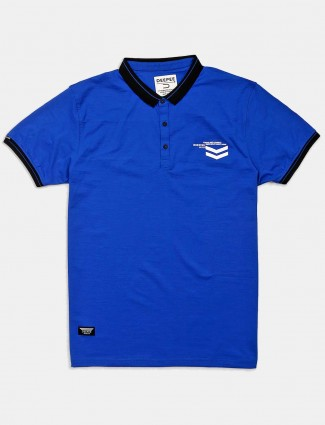 Deepee royal blue solid cotton t-shirt