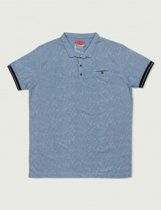 Deepee sky blue slim fit t-shirt
