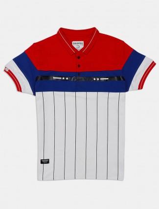Deepee slim fit polo white stripe t-shirt